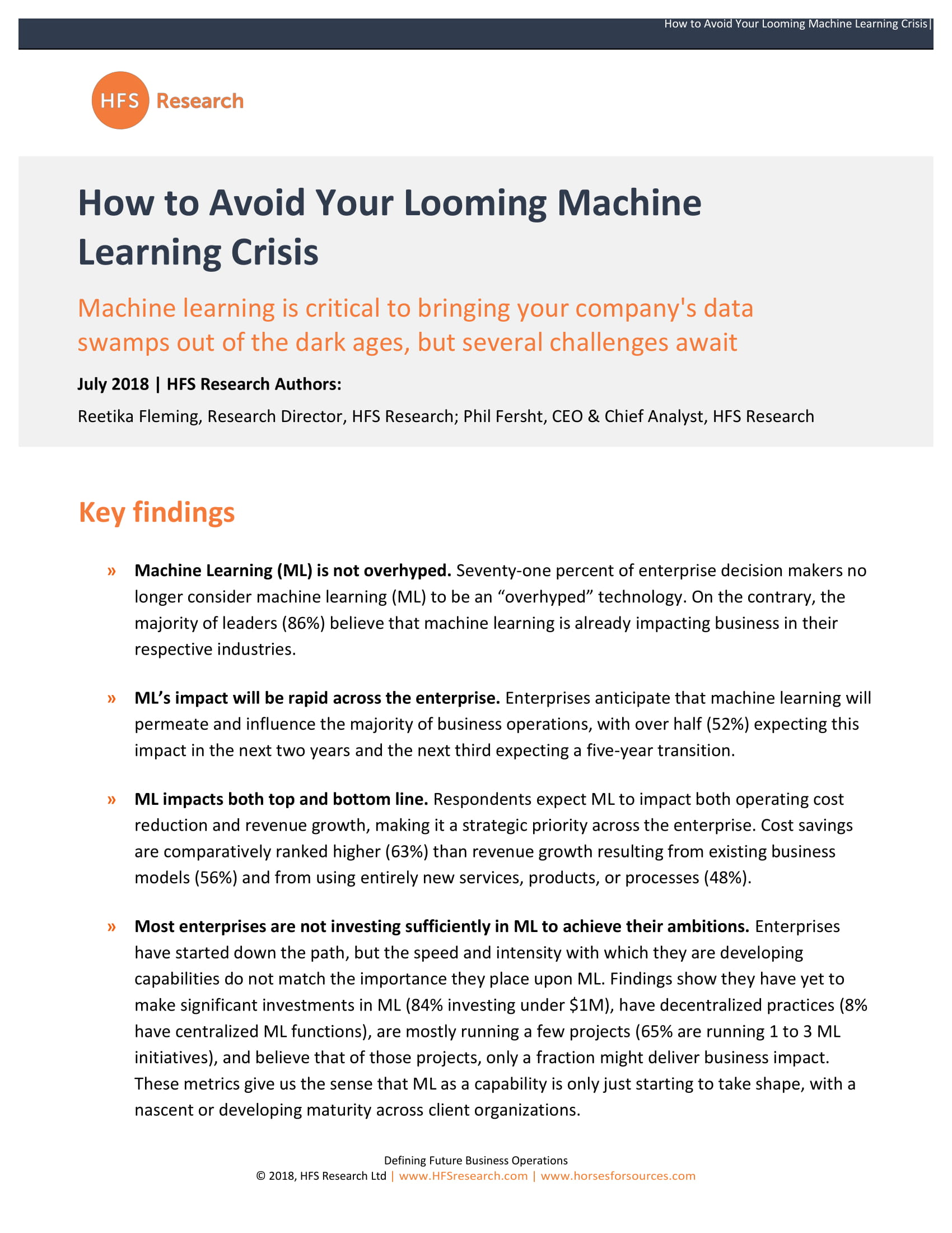 Page 1 - How to Avoid Your Looming Machine Learning Crisis - HFS Research